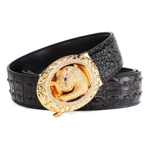 Luxury-Men Belts High Quality Leather Strap Automatic Buckle Belt Leopard Fashion Latest Crocodile Business Casual
