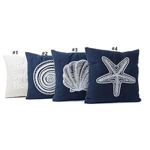 Série de lona do estilo mediterrâneo Frutas marinhas da capa de almofada bordada CONCH STARFISH STARFISH Padrão de padrão de travesseiro GWF4265
