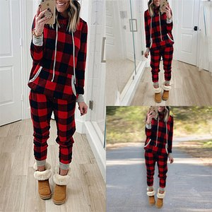 Women Christmas Plaid Tracksuit Ins Xmas Two Piece Clothing Pajamas Sets Checkered Hooded Hoodies Legging Pants Outfit Trourser Suit E120301