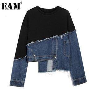 [EAM] Loose Fit Black Denim Burr Split Joint Sweatshirt New Round Neck Long Sleeve Women Big Size Fashion Tide Spring 2020 1M879 Y1109