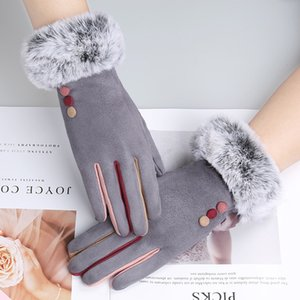 Touch screen saver warm gloves for female Winter student Korean version of cute suede gloves with velvet and thick suede