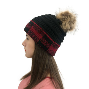 2021 New Christmas square Plaid color matching Wool ball knitted Hat