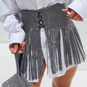 Luxury Shiny full Rhinestone Crystal Wedding Belt Bridal female Silver long fringe tassel women Bling wide bondage Belt Straps