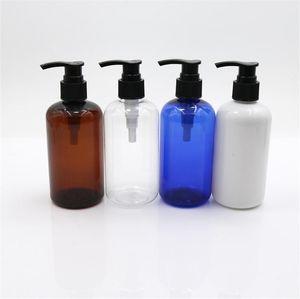 empty hair blue white clear 150pcs 250ml amber PET plastic shampoo bottle with pump and aluminum cap