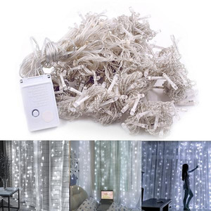 Free delivery 3M x 3M 300-LED White Light Romantic Christmas Wedding Outdoor Decoration Curtain String Light 110V wholesale