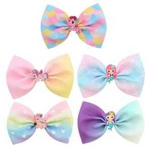 24 шт. Girls 4,5 дюйма Unicorn Mermaid Bows Clip Clip Kids Princess Hairpin Barnettes Аксессуары для волос HuiLin C243