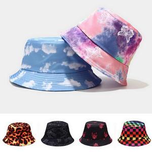 2020 Kravat Boya Kelebek Yangın Bulutu Baskı Balıkçı Şapka Balıkçı Şapka Erkekler ve Kadınlar için Açık Eğlence Kova