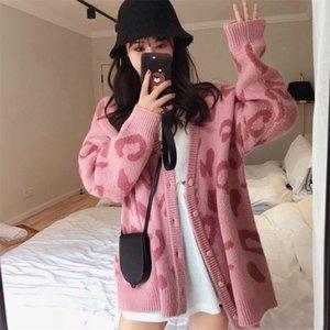 OUMENGKA Mujeres Suéteres Otoño Invierno Moda Casual Leopardo V-cuello en V Single Breasted Soplo Manga suelta Cardigans Abrigo Y200720