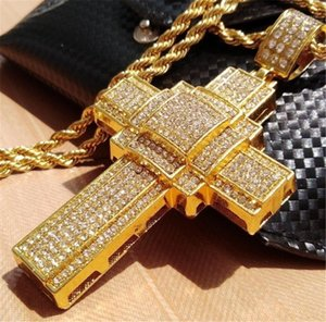 Hip Hop Iced Out Big Cross Pendant Necklace For Men Gold Color Rhinestone Necklace Hiphop Christian Jewelry1