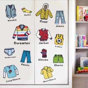 Giyim Kategori Etiket Karikatür Dolap Giyim Çıkartmaları Dekor Yaratıcı Hayat Çıkarılabilir Etiket Kreş Dekor Ev Dekorasyon GWC4688