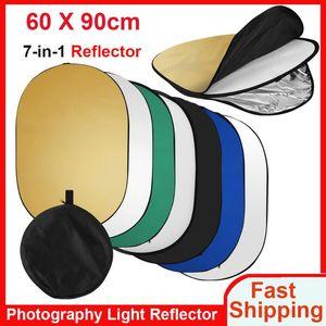 60 * 90cm / 24 * 35inch Photography Light Reflector 7-in-1 접이식 멀티 디스크 스튜디오 야외 사진을위한 캐리 가방