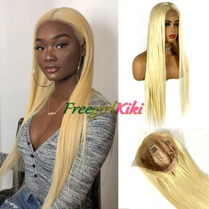 Fashion Gold Color straight Lace Front middle part synthetic wig for lady woman with soft handfeeling and wholsale wig