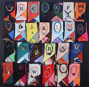 26 Letters Scarf Silk Ribbon Neckerchief For Woman Wrap Bag Decoration Flower Printed Hair Accessories Pashmina Scarves