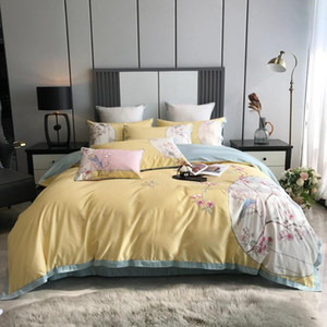 Chinoiserie Vintage Blossom and Birds Embroidery Duvet Cover 100%Cotton Bedding set Bed sheet Pillowcases Queen King size