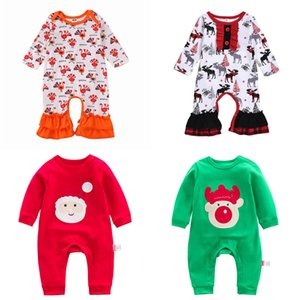 Baby Christmas Tutesuits Toddler Boys Cartoon Turkey Snowman Rompere Bambini Lersure Vestiti Infantile Girls Raffiglia Lettera Onesies Outfits 06
