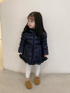 Cute Girls Coat Winter Baby Girl white dark Down Parka & Coats Kids Thicken Warm Long Jackets Toddler Outerwear 2 colors