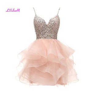 Spaghetti Beaded Bodice Short Homecoming Dress Tulle Mini Prom Dress Sequins Crystals Party Gown 8 grade graduation dress 201119