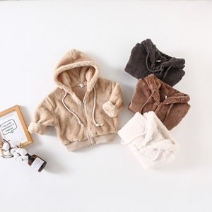 Winter New Arrival korean style cotton pure color thickened velvet hooded coat for fashion cute baby girls and boys 201110