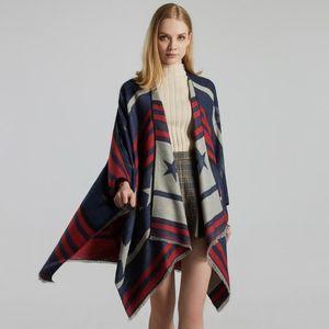 Cashmere shawl lady jacquard thickened warm slit cape scarf women winter