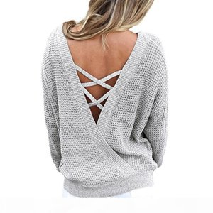 Women Hot Sexy Kintted Sweaters Jumper Pull Femme Bandage Lace Up Pullovers Top Backless Long Sleeve Sweater Oversize Tops GV081 q171122