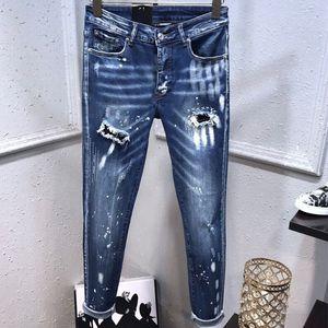 mens Designer jeans 2 Distressed Skinny Ripped Destroyed Trousers Slim Motorcycle Moto Biker punk Hip Hop Slim Denim luxury man Holes Pants