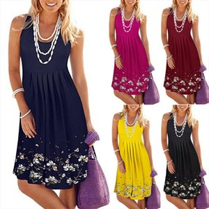 Fashion Casual Loose Womens Floral Bodycon Sleeveless Party Cocktail Club Mini Dress Summer Pullover Clothes For Girls