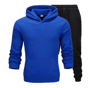 2020 Vêtements décontractés Pulls pour hommes Pull Sweater Coton Hommes Tracksuits Sweat à capuche Deux pièces + Pantalon Sports Shirts Fall Winter Track Track costume noir