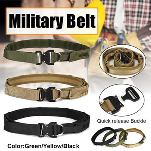 Tactical Army Belt Outdoor Nylon Waist Belts with Automatic Metal Buckle Hook Accessories for Hunting Duty Men