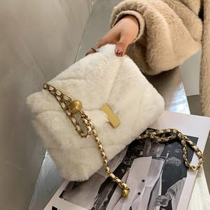 Moda Faux Piel Crossbody Bolsas para mujeres 2021 Invierno Marca Bolsa de hombro de peluche suave Cadena Bolsos de mujer y bolsos Nuevo Q1206