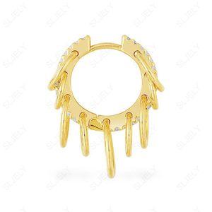 Sljely Moda Puck Rock 925 Sterling Silver Giallo Gold Color Multi Circles Piccolo orecchino con pietre zirconi 1pc per le donne