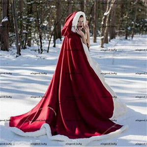 Red Hooded Bridal Cpae Warm Fur Trim Winter Cape Stunning Wedding Cloaks Hooded Long Party Wraps Jacket Bridal White Ivory Wrap