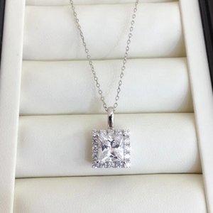 Inbeaut отличный вырезанный квадрат D Color Moissanite кулон ожерелье 925 серебро 1-2 CT Pass Pass Diamond Test Cushion Moissanite Ожерелье Z1126