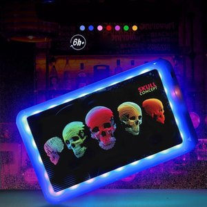 Customized LED Glow Plastic Rolling for Tobacco Storage Tray Rechargeable Smoking Serving Plate DHB2836