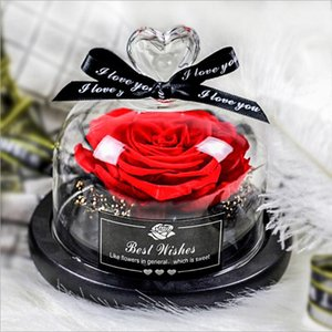 Preserved Valentines Day Gift Exclusive Rose In Glass Dome With Lights Eternal Real Rose Mother's Day Gift Christmas Halloween