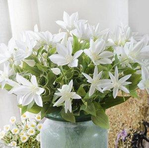 10 unids Artificial 3head Clematis Florida Flor Leaf Stem para boda Bouquet Bouquet Home Office Decoración del hotel