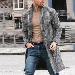 Hommes Men Designer Winter Lungo Cappotti di lana Plaid Pattern Moda Mens Cardigan Cardigan caldo Cappotti Manteaux Versare