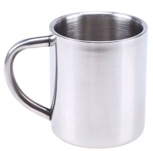 Stainless Steel Double Layer Coffee Mug Cups Portable Camping Cup With Handgrip Stainless Steel Mountaineering Mugs 300ml