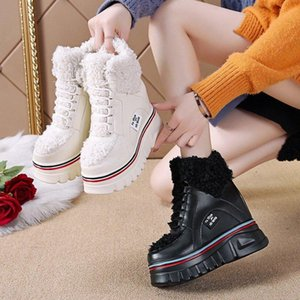 Winter Warm Boots Woman Plush Platform Ankle Shoes High Top Height Increasing 10CM Snow Boots Trainers Fur Chunky Sneakers Woman