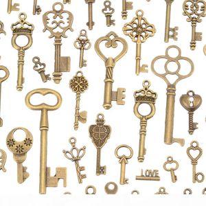 125pcs Antique Old Look Bronze Keys Vintage DIY Pendant Metal Charms Decorations Pendant Decor Necklace DIY Hanging Jewerly