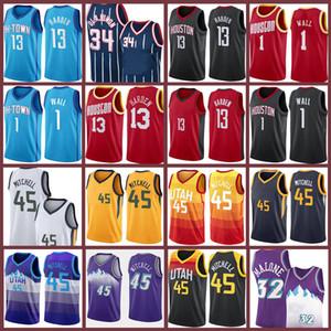 Донован 45 13 Mitchell Harden 2 John 1 Wall Basketball Jersey Hakeem 34 Olajuwon KARL John 32 Malone 12 Stockton