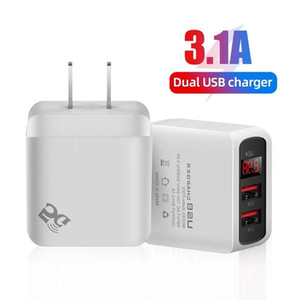 Smart Auto Dual Usb Ports LED Display 3.1A EU US UK Power Adapter Wall Charger Plug For Samsung Huawei Htc Android phone PC Mp3