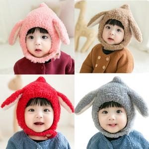 Детские зимние теплые шапочки милые кролики уши украшения боббл шляпа дерева кнопка мальчики девушки капот ребенка мода уха защита 10 8zm g2