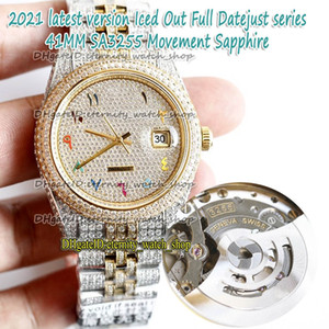 eternity Latest version Rainbow Arabic Diamonds Dial SA3255 Automatic 86409 126334 126333 Mens Watch Two Tone Strap Iced Out Full Diamond