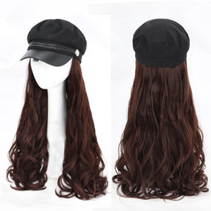 Synthetic Wig Hat Long Wave Wig For Women Heat Resistant Fiber Pixie Cut Long With Black Women's Baseball Cap All-in-one Hat