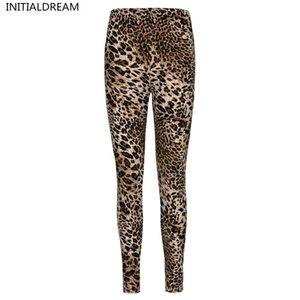 InitialdReam Mujer Leopardo Estampado Primavera Y Otoño Elasticidad Pantalón Leggins Leggings de mujer suave de cintura alta