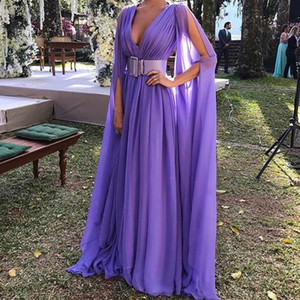 Sexy V-neck Women Dress Long Formal Wedding Dress Party prom bridesmaid Purple Color Ladies Long Sleeve Maxi