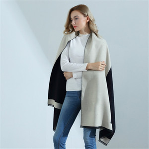 High-grade Double-sided Letter H Cashmere Blanket Scarf Warm Shawl Sofa Decoration Knitted Throw Towel Cape Blanket 201109