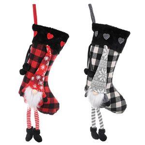 Christmas New Products Love Fluffy Leg Hanging Lattice Christmas Stockings Apple Candy Bag Plaid Socks Pendant Festival Supplies