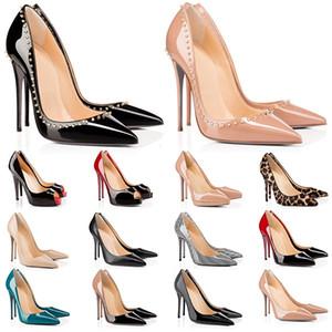 Salto alto Vermelho Bottoms Womens Heel 8 10 12cm Genuíno Ponto De Couro Toe Bombas De Borracha De Casamento Banquete Vestido Sapatos Tamanho 35-42