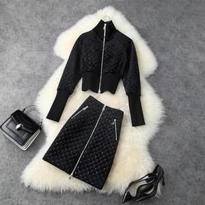 2020 осень зима длинный рукав стенд воротник черная молния куртка + блестки высокая талия короткая юбка из двух частей костюмы 2 штуки набор lo2911484